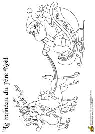 coloriage traineau du pere noel avec deux rennes sur hugolescargot com