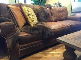 Rustic Leather Sofas Stonewood Bison Leather Sofa Tx Houston Tx Rustic
