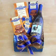 wine and chocolate gift baskets wine ghirardelli chocolate greetings hostess gift ideas