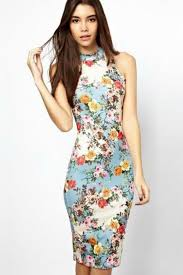 light blue floral print mock neck bodycon casual dress casual
