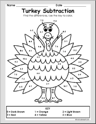 thanksgiving math turkey subtraction thanksgiving coloring
