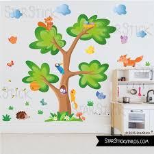 arbre chambre bébé sticker enfant arbre animaux de la forêt
