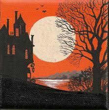 4x4 print of painting ryta halloween folk art lake haunted house