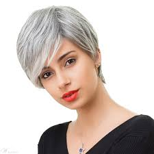 human hair in salt and pepper salt and pepper short straight capless wigs with bangs human hair