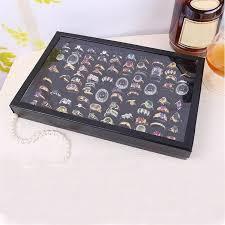 durable fashion jewelry rings display macaron tray velvet 100 slot