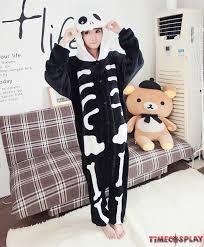 skull skeleton onesies pajamas unisex flannel kigurumi onesies