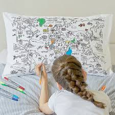 design your own pillowcase color your own map pillowcase coloring for kids uncommongoods