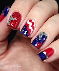 4th of july nail art flag stars glitter manicure sassy shelly