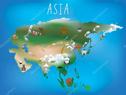 Map Asia Childrens Map Asia And Asian Continent With Landmarks And Anima