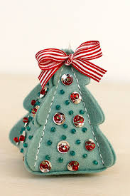 sequins and on a felt ornament made from tree