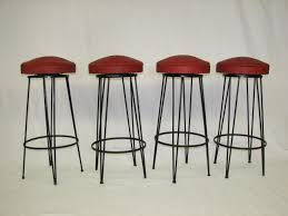 furniture mid century swivel bar stools with red upholstered seat