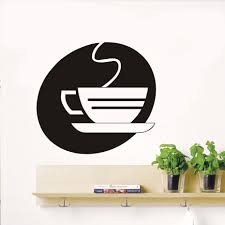 kitchen wall stickers office decorative hollow out steaming tea