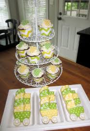 yellow and green baby shower cookies and cupcakes my cakes