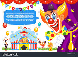 circus poster happy clown invites you stock vector 593151482