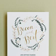 rustic invitations green and gold foil wedding invitations