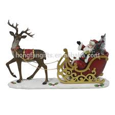 Christmas Reindeer And Sleigh Decorations by Polyresin Christmas Santa Reindeer Sleigh Decor Buy Christmas