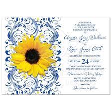 sunflower wedding invitations royal blue sunflower wedding invitation royal blue and yellow floral