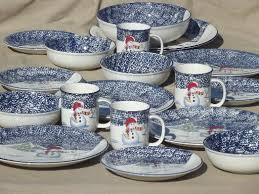 christmas dishes christmas dishes set for 4 thompson china winter snowmen spongeware