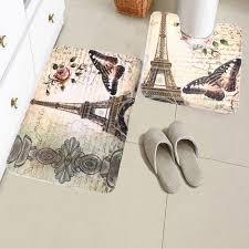 2pcs soft paris eiffel tower flower bath pedestal non slip carpet