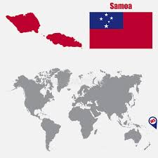 samoa in world map samoa map on a world map with flag and map pointer vector