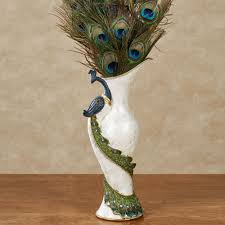 Capiz Vase Elegant Peacock Jeweled Table Vase