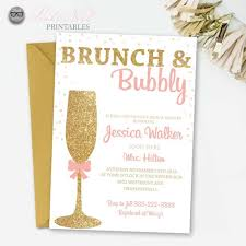 brunch bridal shower invitations glitter bridal shower invitation brunch and bubbly gold glitter