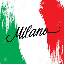 Italy National Flag Inscription Milano And Brush Strokes In Colors Of The National