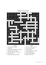 Halloween Crossword Puzzles Printable by Autumn Themed Crossword Puzzle Worksheet Free Esl Printable