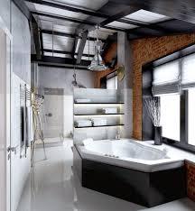 Men Bathroom Ideas Bathroom In Industrial Design Wall Of Red Brick Concrete Floor
