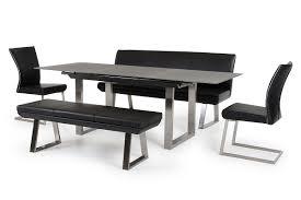 Modern Dining Bench With Back Modrest Magnus Modern Black High Back Dining Bench
