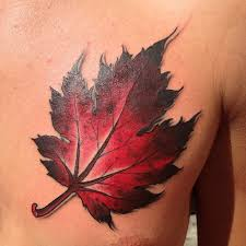 red maple leaf chest tattoo tattoomagz