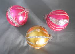 vintage germany trio of glass ornaments pink and gold in