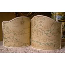 Old World Map by Wall Sconce Clip On Shield Shade In Old World Map Parchment Mini