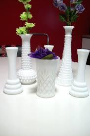 Milk Glass Vase Floral Glass Vases Vintage Hoosier Glass Vases White Hobnail Milk