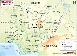 map of nigeria africa nigeria physical map physical map of nigeria