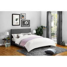 Leather Upholstered Bed Mainstays Upholstered Bed Option Of Linen And Faux Leather