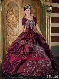 burgundy quince dresses burgundy gown strapless floor length taffeta embroidery