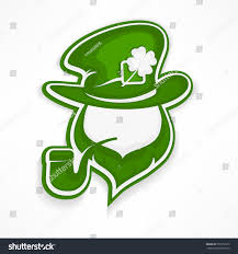 saint patricks day leprechaun pipe beard stock vector 572912512