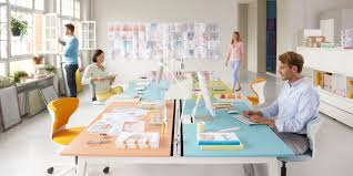 Office Desk Configurations Get Together Bench Desk Is A New Modern Workstation Solution For