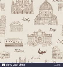 travel tiled background italy famous landmark seamless pattern