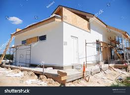 unfinished house home remodeling renovation painting stock photo