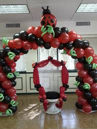 ladybug theme baby shower party mother wicker chair with balloon