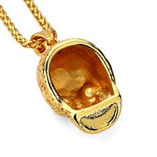 red gem necklace images Hip hop golden skull head pendants necklaces with red stone eyes jpg