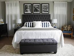Bedroom Decor Without Headboard Bed Ideas Black Linen Fabric Upholstered Bed With Trundle Using