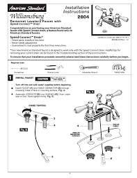 American Standard Kitchen Faucet Parts Diagram American Standard Williamsburg 2804 User Manual 4 Pages