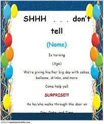 fearsome free printable surprise birthday party invitations