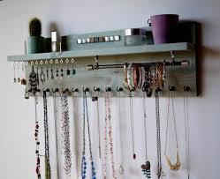 jewelry holder necklace images Jewelry organizer with shelf earrings display wall mounted jpg