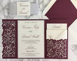 wedding invitation pockets burgundy wedding invitation burgundy and gold glitter pocket