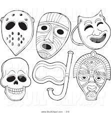 vector clip art of a coloring page of face masks by visekart 316