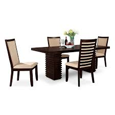 4 Piece Dining Room Set Cosmo Table And 6 Chairs Merlot American Signature American